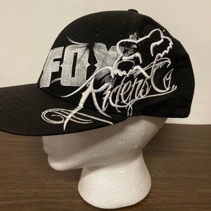 Fox racing black and white hat